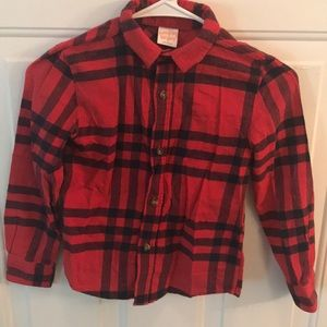 Jumping Beans Boys Red Button Down Flannel Shirt